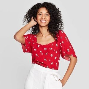 A New Day Size S Red Floral Square Neck Top